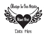 In Memory of Decal Always in our Hearts - cartattz1.myshopify.com