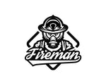 Fireman Decal With Script Lettering