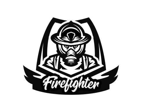 Firefighter Decal With Script Text