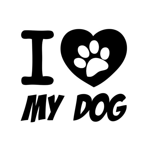 I Love My Dog Paw Sticker - cartattz1.myshopify.com