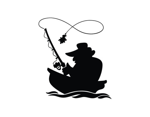 Fisherman in Boat Sticker 1