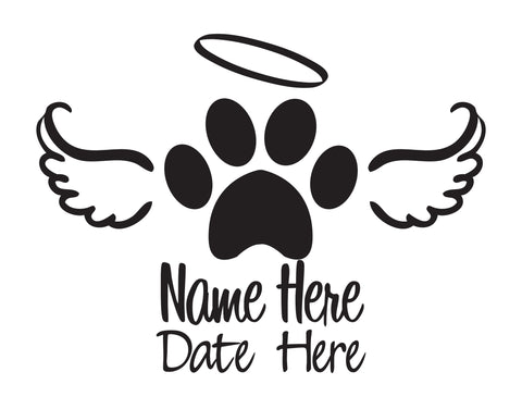 In Memory of Dog Decal with Paw and Angel Wings - cartattz1.myshopify.com