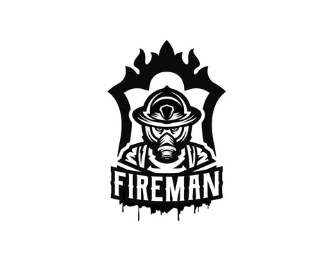 Fireman Firefighter Decal With Drips