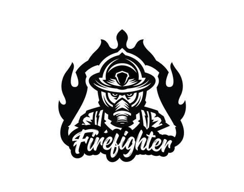 Firefighter Decal In Flames - cartattz1.myshopify.com