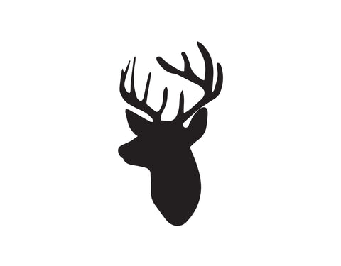 BUSTY DEER HEAD WITH ANTLERS DECAL - cartattz1.myshopify.com