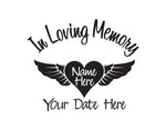 In Loving Memory with Heart and Wings Decal - cartattz1.myshopify.com