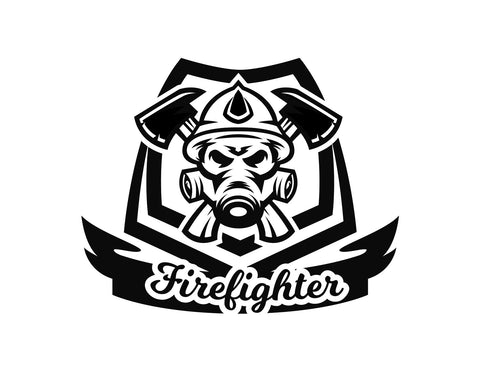 Firefighter Decal Crossed Axe - cartattz1.myshopify.com