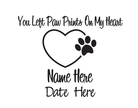 Paw Prints In Memory of Dog Decal - cartattz1.myshopify.com