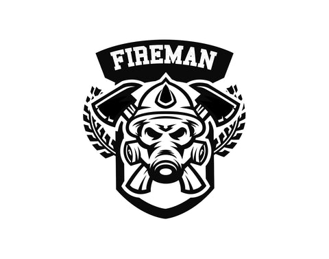Fireman Firefighter Decal Emblem With Axe - cartattz1.myshopify.com