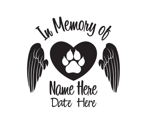 In Memory of Cat Decal with Heart 2 - cartattz1.myshopify.com