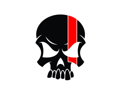 Skull Firefighter Decal with Red Line