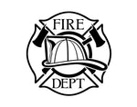 Fire Department Helmet Maltese Cross Firefighter Decal