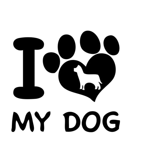 I Love My Dog paw Sticker 1 - cartattz1.myshopify.com