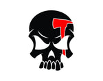 Skull Firefighter Decal with Red Axe Line