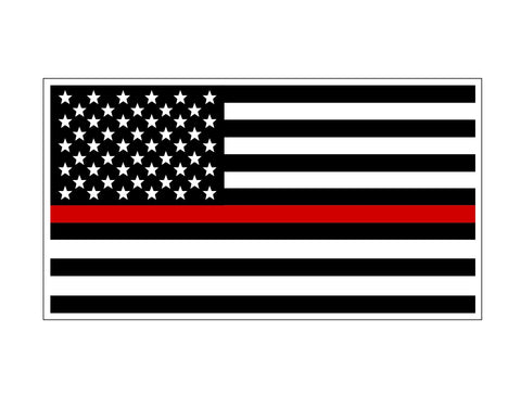Firefighter American Flag Red Line Decal - cartattz1.myshopify.com