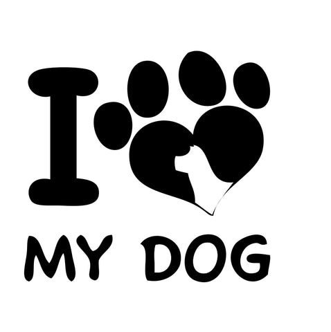 I Love My Dog paw Sticker 2 - cartattz1.myshopify.com