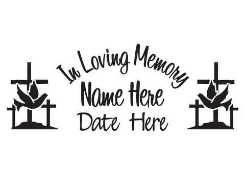In Loving Memory Dove and Cross Decal - cartattz1.myshopify.com