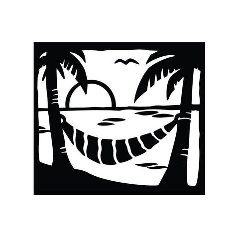 Palm Tree and Hammock Sticker 1