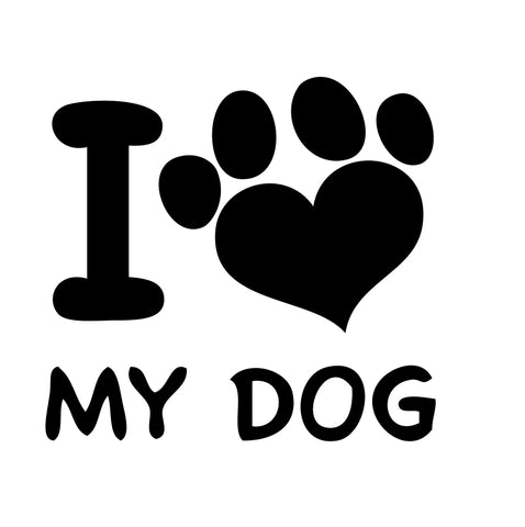 I Love My Dog paw Sticker 3 - cartattz1.myshopify.com