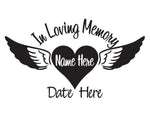 In Loving Memory Heart and Wings - cartattz1.myshopify.com