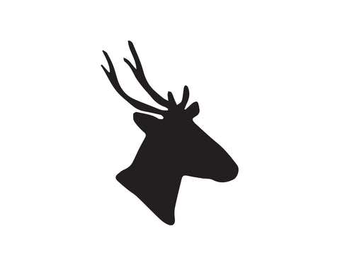 DEER HEAD DECAL WITH THICK ANTLERS - cartattz1.myshopify.com