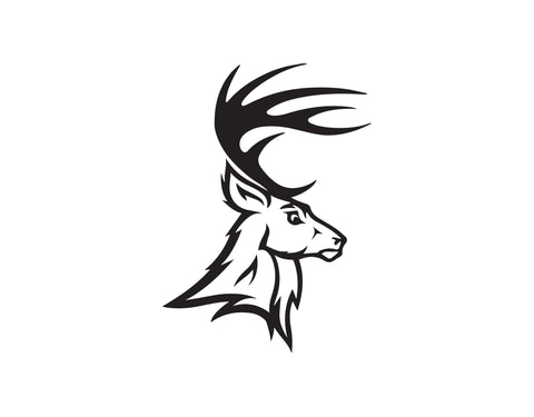 DEER HEAD DECAL WITH SMALL ANTLERS