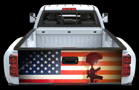 American Flag Fallen Soldier Tailgate wrap