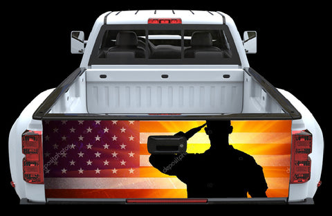 American Flag with Saluting Soldier Tailgate Wrap