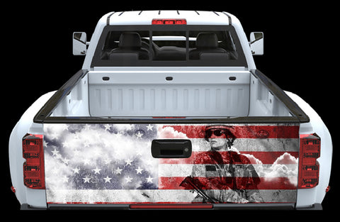 American Flag with Soldier Tailgate Wrap