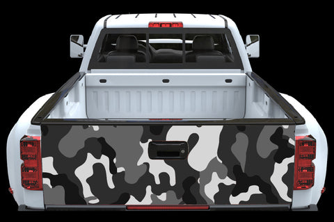 Black and Gray Camo Tailgate Wrap