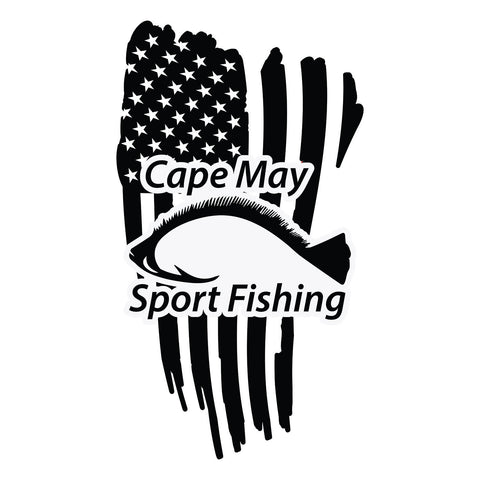 Cape May Sport Fishing American  Flag  Sticker - cartattz1.myshopify.com