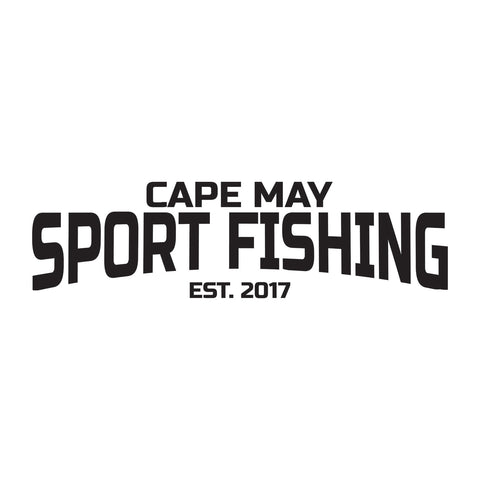 Cape May Sport Fishing Est 2017 Text  Sticker - cartattz1.myshopify.com