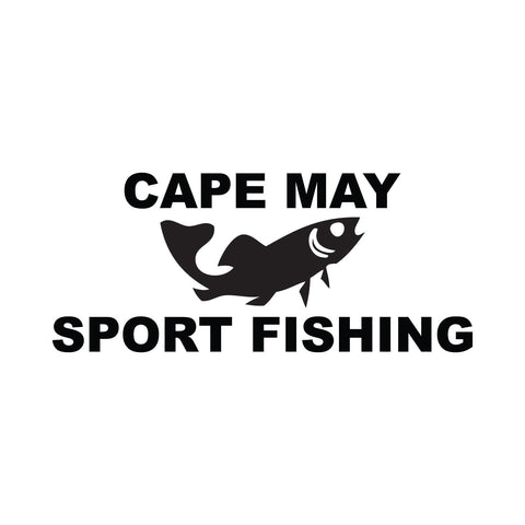 Cape May Sport Fishing with Fish  Sticker - cartattz1.myshopify.com
