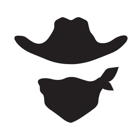 Cowboy Hat And Mask Siholette Decal - cartattz1.myshopify.com