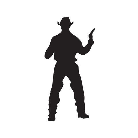 Cowboy Holding Pistol Decal