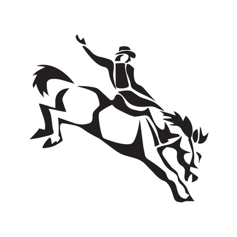 Cowboy On Bucking Horse Decal