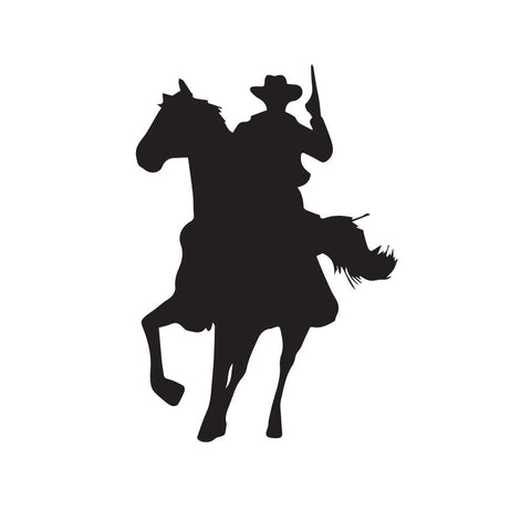 Cowboy Riding Horse With Pistol Decal