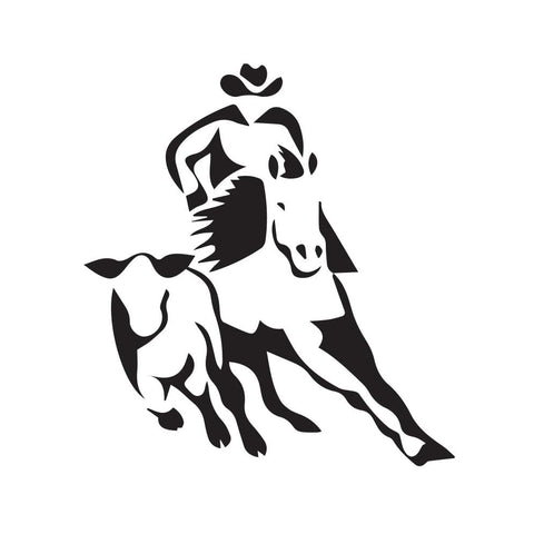 Cowboy Running With Bull Decal