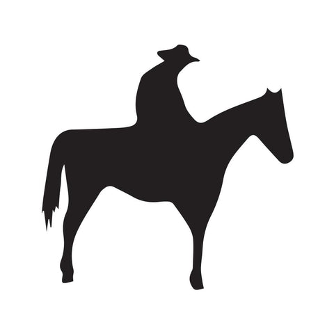 Cowboy Sitting On Horse Silhouette Decal