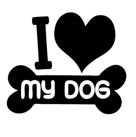 I Love My Dog Heart and Bone Sticker - cartattz1.myshopify.com