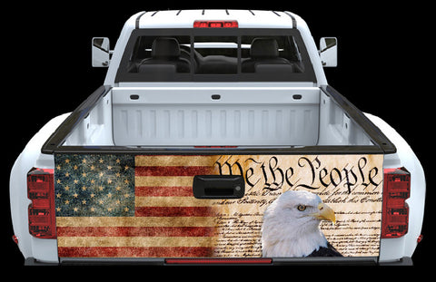 We the people American Flag and Eagle Tailgate Wrap