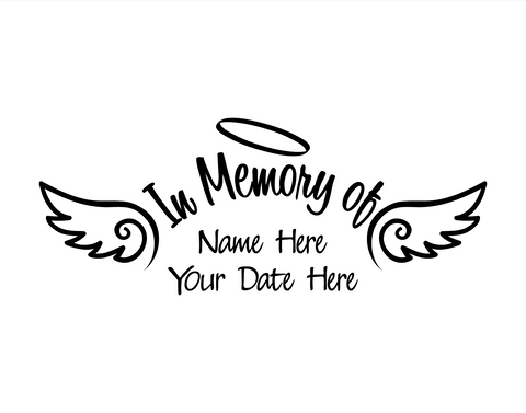 In Memory of Decal with Angel Wings - cartattz1.myshopify.com