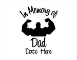 In Memory of Dad Muscle Man Decal - cartattz1.myshopify.com