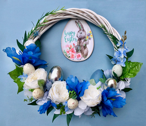 Blue Easter Bunny Handmade Wreath