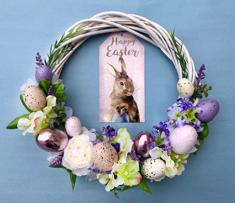 Purple Easter Bunny Handmade Wreath