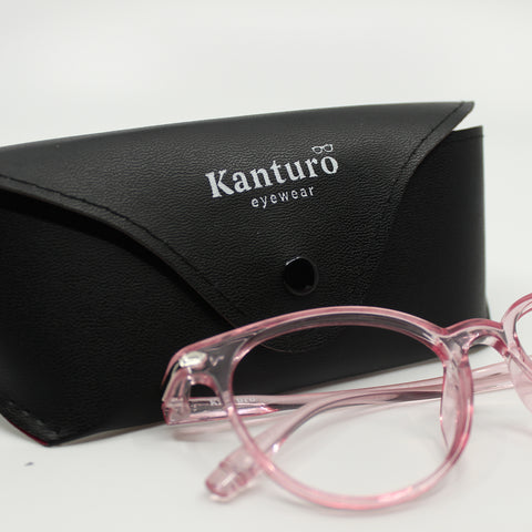 kanturo blue light glasses in pink