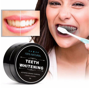 100% Natural Activated Charcoal Teeth Whitening Powder + Toothbrush