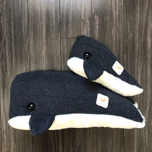 Grey and White Wendi Whale Pillow