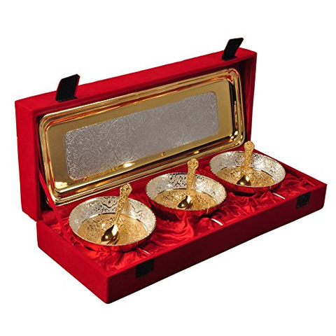 "Silver & Gold Plated Brass Bowl Set 7 Pcs. (Bowls 4'' Diameter & Tray 13"" x 5.5"")"