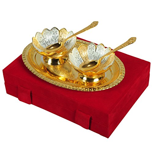 "Silver & Gold Plated Brass Bowl Set 5 Pcs. (Bowls 4"" Diameter & Tray 10"" x 8"")"